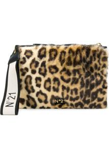 Nº21 Bolsa Clutch Com Estampa Leopardo - Preto