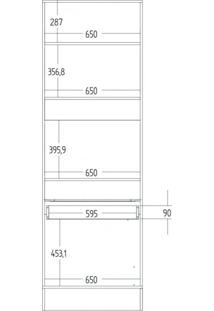 Paneleiro Torre Quente 3 Portas 1 Gaveta Com Modulado Slim Decibal Acácia/Branco