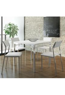 Mesa 1525 Branca Cromada Com 4 Cadeiras 1709 Branca Carraro