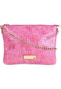Bolsa Couro Jorge Bischoff Flat Croco Feminina - Feminino-Pink