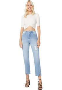 Calça Jeans Reta Abertura Barra