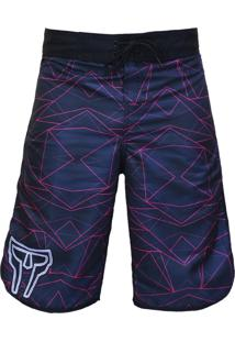 Bermuda Spartanus Fightwear Pro Fight Geometric Roxo