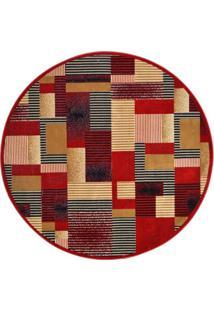 Tapete Redondo Veludo Marbella Illusione Artistic Vermelho 200X200 Cm