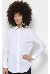 Camisa Lacoste Manga Longa Slim Feminina - Feminino-Branco