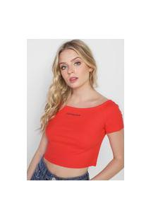 Blusa Cropped Calvin Klein Jeans Canelada Vermelha