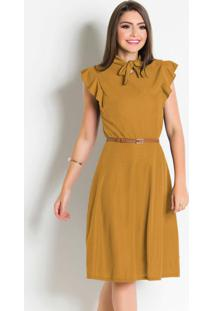Vestido Moda Evangélica Mostarda Com Gola Laço