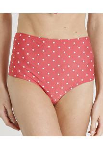 cfa4b3406c Biquíni Calcinha Hot Pant Estampada De Poá Com Proteção Uv50+ Vermelho