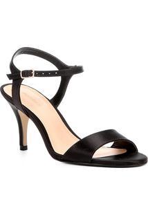 Sandália Shoestock Salto Fino Cetim Feminina - Feminino-Preto
