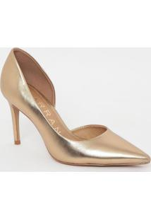 Scarpin Em Couro Metalizado- Dourado- Salto: 8,5Cmcarrano