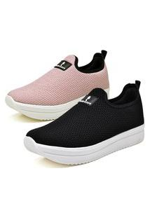 Kit 2 Pares Tenis Anabela Casual Calce Facil Preto - Rosa