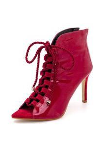 Ankle Boot Bico Aberto Salto Alto Feminino Conforto