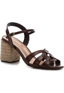 Sandália Shoestock Tiras Salto Bloco Feminina - Feminino-Marrom