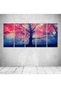 Quadro Decorativo - Pink Amp Blue Tree - Composto De 5 Quadros