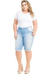 Bermuda Confidencial Extra Plus Size Jeans Com Elastano Feminino - Feminino-Azul Claro