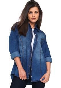 Camisa Jeans Lunender Pespontos Azul