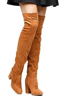 7b7168ce51 ... Bota Shoestock Over The Knee Maxi - Feminino-Caramelo