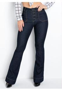 Calça Flare Jeans Escuro Sawary Com Botões