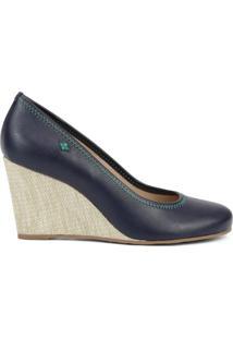 Sapato Anabela - Azul Escuro & Bege- Salto: 8Cm Cravo & Canela