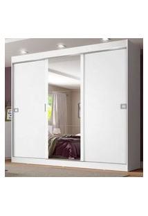 Guarda-Roupa Casal Madesa Napoli 3 Portas De Correr Central Com Espelho Branco