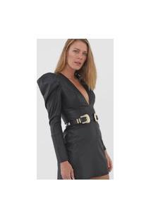 Vestido Lança Perfume Curto Resinado Preto
