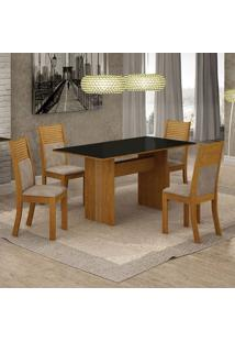 Conjunto De Mesa De Jantar Florença Ii Com 4 Cadeiras Havaí Suede Preto E Bege