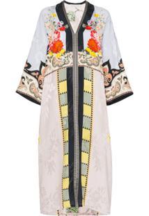 Etro Vestido Kaftan Floral Com Patchwork - Multicoloured