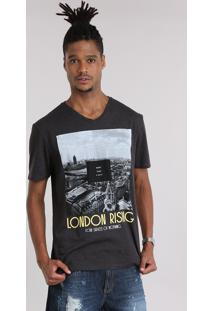 "Camiseta ""London Rising"" Cinza Mescla Escuro"
