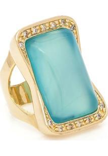 Anel Banhado A Ouro Pedra Bonamita E Zirconias - Feminino-Azul Claro