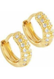 Brinco Zircônias Queen Florenzza Em Ouro 18K 750 Feminino - Feminino-Dourado