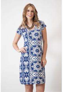 Vestido Pau A Pique - Feminino-Azul+Branco