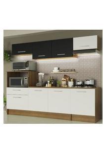 Cozinha Completa Madesa Onix 240002 Com Armário E Balcáo - Rustic/Branco/Preto 5Z73 Marrom