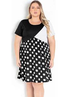 Vestido Poá Com Mangas Curtas Plus Size