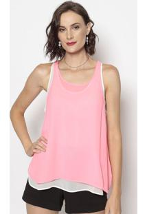 Blusa Com Fendas- Rosa Neon- Cotton Colors Extracotton Colors Extra