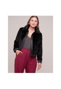 Amaro Feminino Jaqueta Fur Detalhe Leather, Preto