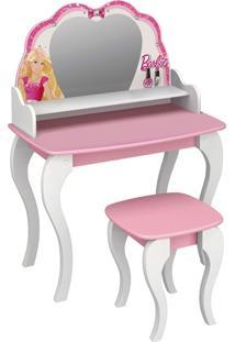 Penteadeira C/ Banqueta Barbie Star Branco Pura Magia
