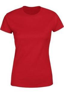 Camiseta Goup Supply Lisa Básica Premium 100% Algodão Feminina - Feminino-Vermelho