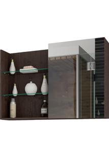 Espelheira Para Banheiro Com 1 Porta E 3 Prateleiras 80Cm Jasmin-Mgm - Café