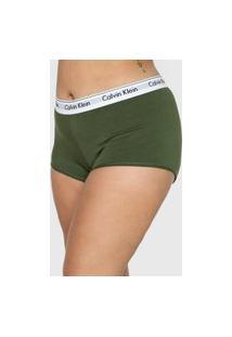 Calcinha Calvin Klein Underwear Boxer Logo Verde
