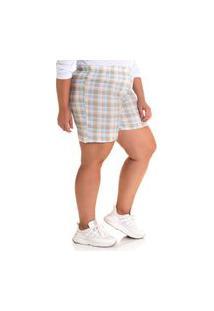 Bermuda Feminina Plus Size Tecido Ana Ruga Algodão