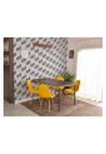 Conjunto De Mesa Dobrável Retrátil 1,40 Preto/Noronha + 4 Cadeiras Botonê - Amarela