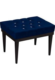 Puff Decorativo Londres Retangular Suede Azul Marinho Com Strass - D'Rossi