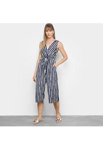 Macacão Lily Fashion Listrado Feminino - Feminino-Marinho+Branco