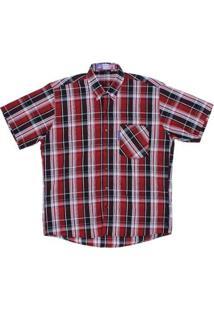 Camisa Masculina Xadrez Manga Curta Rode - Masculino-Vermelho