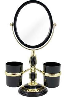 Espelho Com Suporte Laterais- Espelhado & Preto- 32Xjacki Design