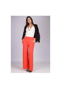 Calça Reta Pantalona Malha Com Bolso Laranja