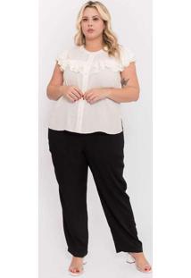 Camisa Almaria Plus Size Pianeta Creponada Babados