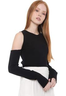 Blusa Tricot Calvin Klein Jeans Off Shoulder Preta