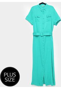 Vestido Longo Heli Plus Size C/ Cinto - Feminino-Verde