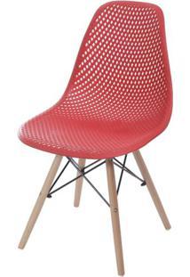Cadeira Eames Furadinha Cor Vermelho Com Base Madeira - 55983 Sun House