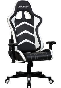Cadeira Gamer Reclinável Max Racer Aggressive Agg-3 Branca E Preta